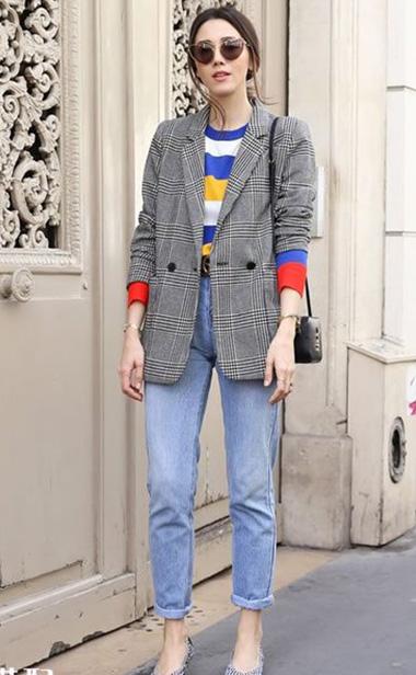 春季优雅搭配单品:灰色格纹西服穿搭攻略